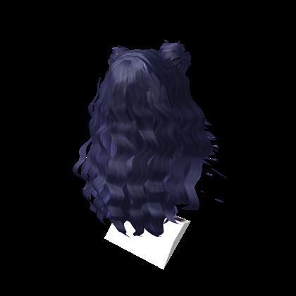 huge dark blue long hair with twin
