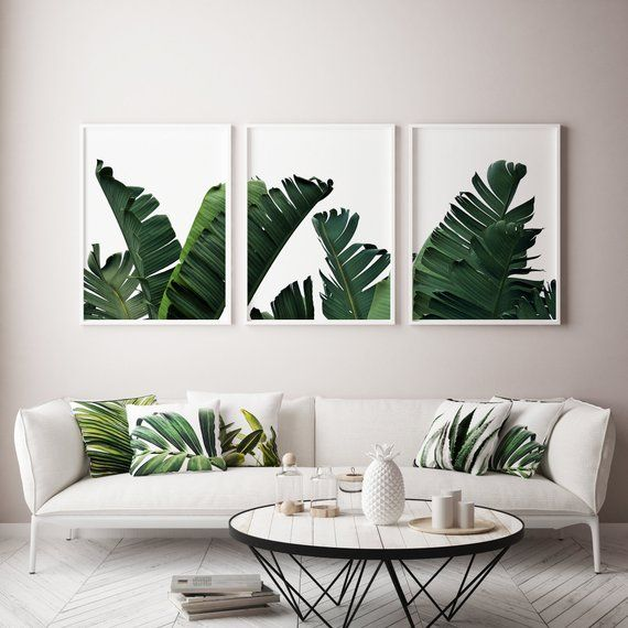 Banana Leaf Print 3 Piece Wall Art Set Of 3 Prints Palm Leaf Print Botanical Print Palm Tree Print Tropical Print Printable Art Leaf Wall Art Wall Art Canvas Painting Tropical Wall Decor