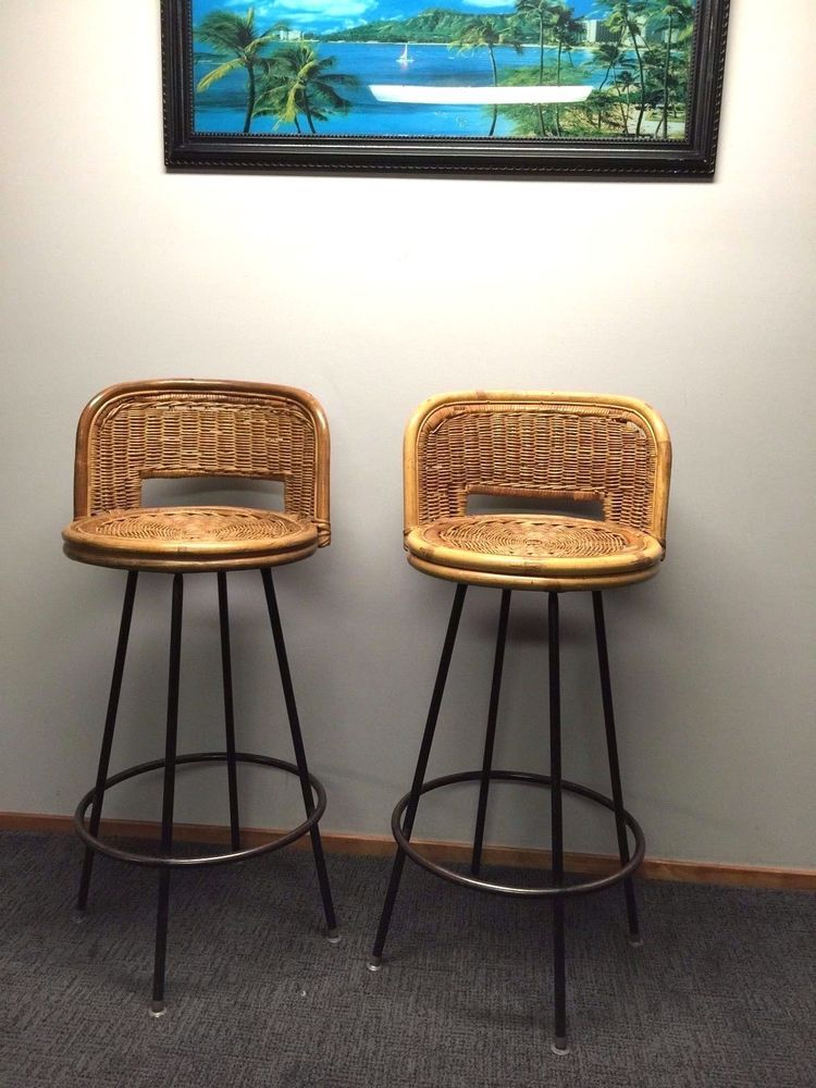 Mid Century Two Swivel Bar Stools Rattan Wicker Vintage Tropi Cal Style