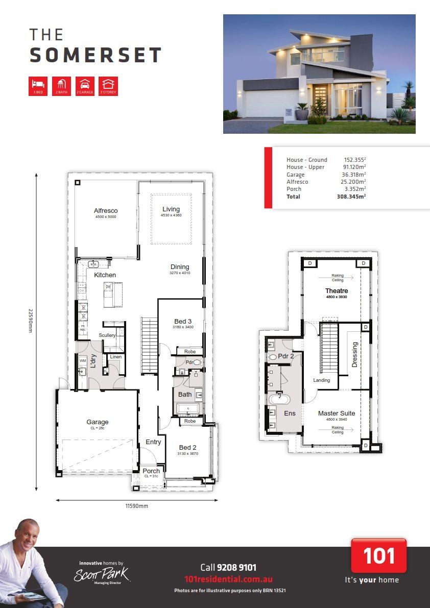 101j5447 Somerset Floor Plan Platinum 15 001 Narrow House Plans Floor Plans House Plans
