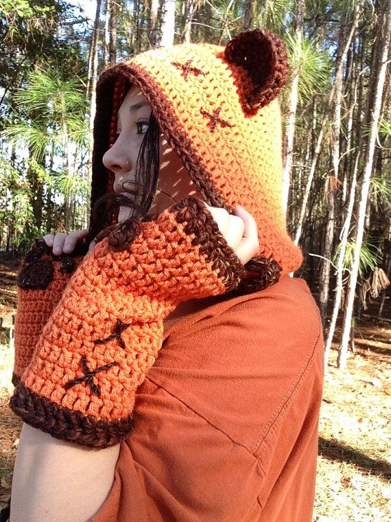 Ewok hood with matching gloves and multiple color options so you can ...