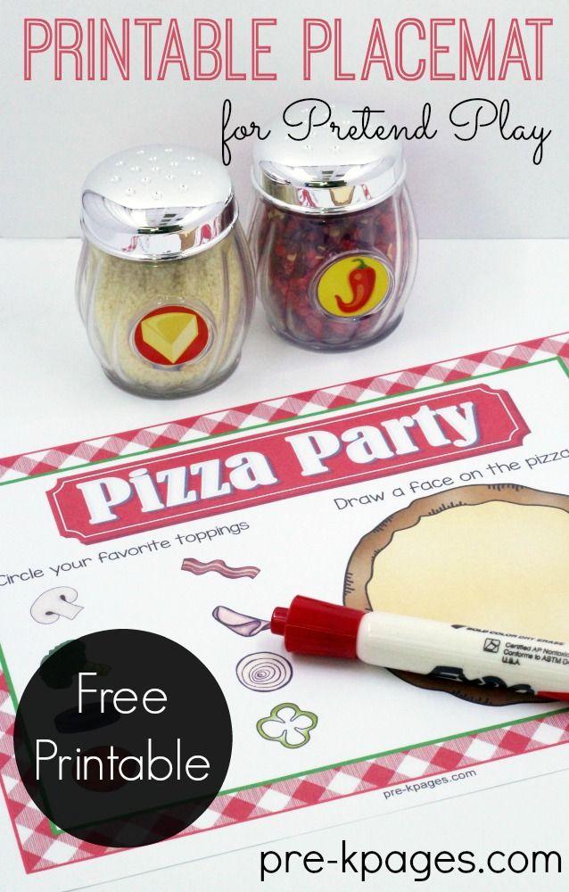 Pizza Restaurant Printable Placemat Preschool Dramatic