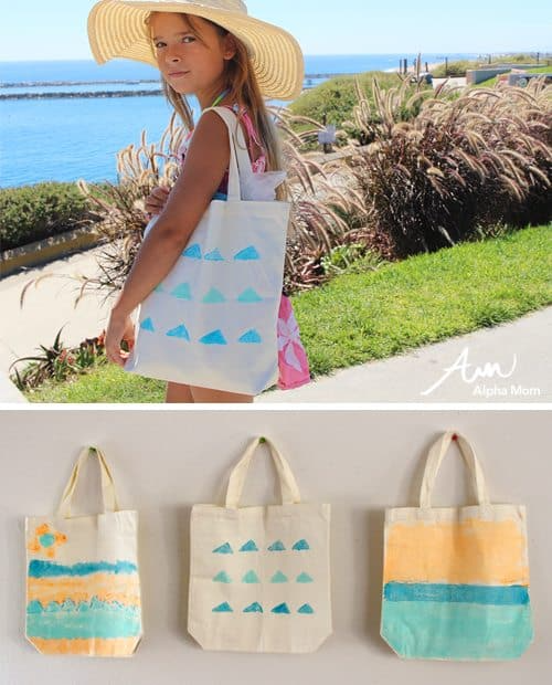 Paint Your Own Beach Tote by Brenda Ponnay for Alphamom.com #Summer #SummerCraft #DIY #BeachCraft #BeachTote #KidsCraft #PaintingCraft #FabricPaint #SummerActivity