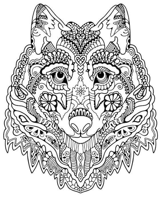 coloriage adulte loup