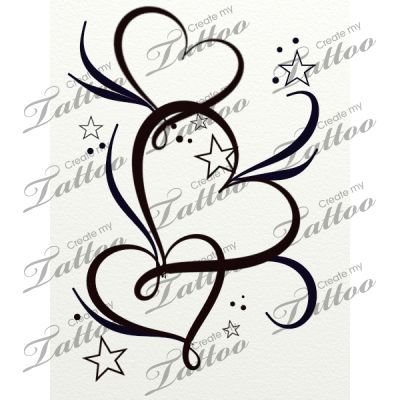 Market Tattoo hearts stars and filigree #20764 | CreateMyTattoo.com ...