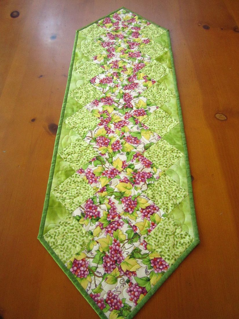 Spring Table Runner Quilted Table Runner Patchwork Handmade Grapes Home Decor Table Linen Housewares Green Tabletop