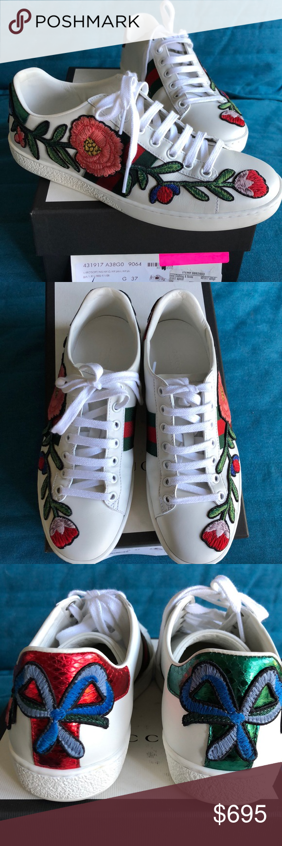 51b8ca30974 GUCCI New Ace Floral Embroidered Sneakers 37 100% AUTHENTIC Intricately  designed floral embroidery around the