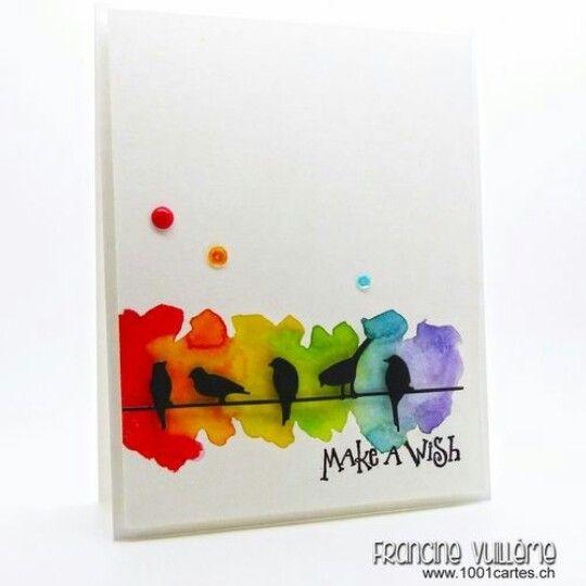 Make A Wish Bird Cards Diy Birthday Watercolor