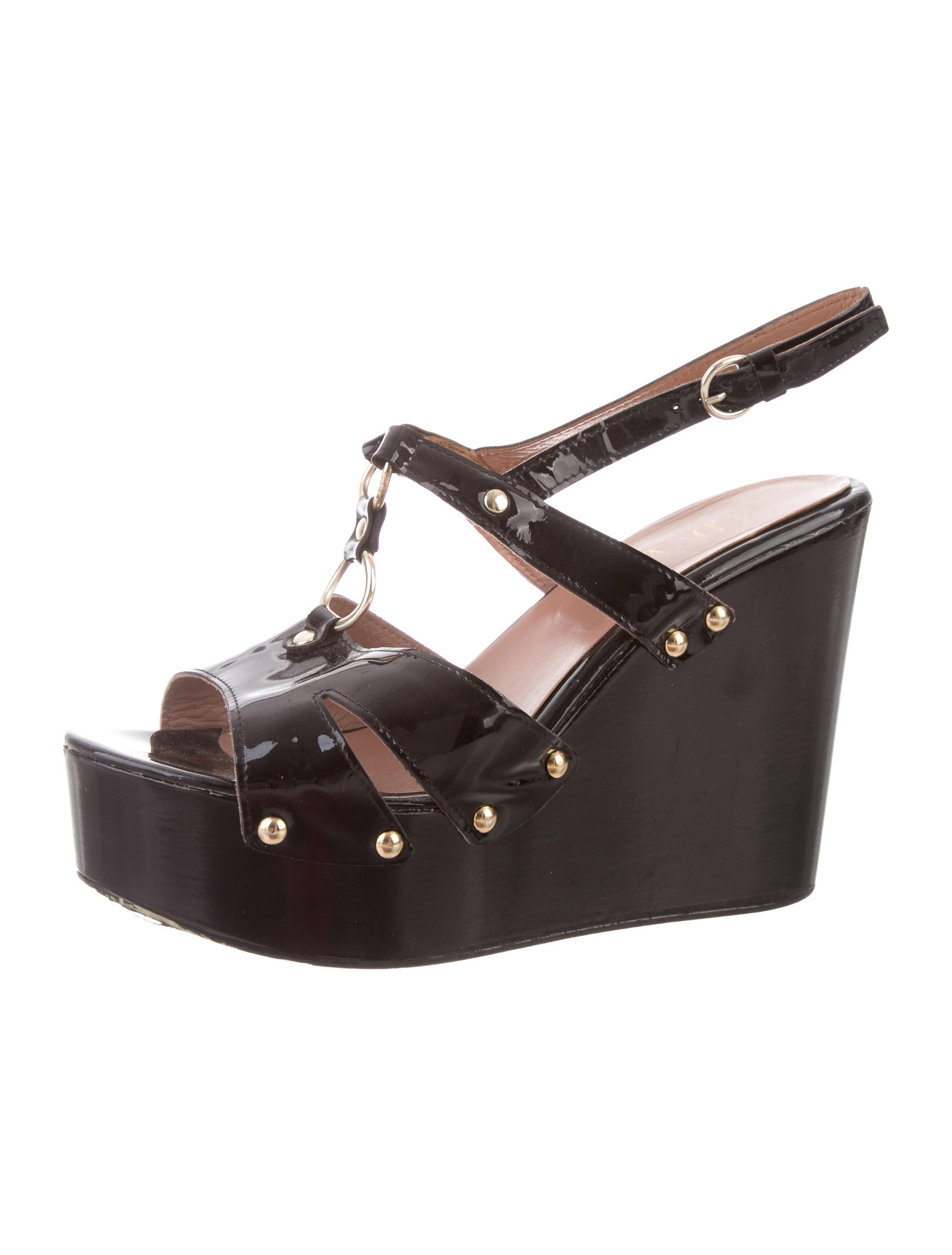 2349fa966 Black patent leather Red Valentino platform sandals with gold-tone  hardware