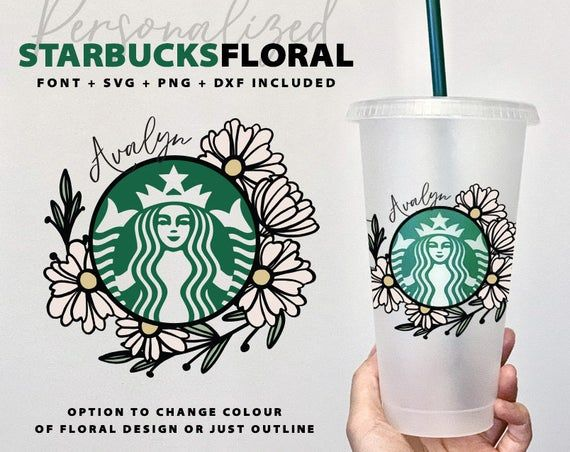 Starbucks Floral Flowers Svg Personalized Name For Tumbler Mug Cold Cup Costume Sticker Vozeli Com