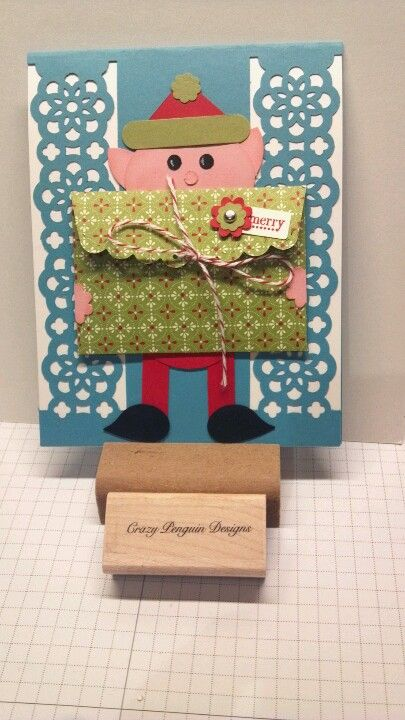 Punch art elf card with gift card holder