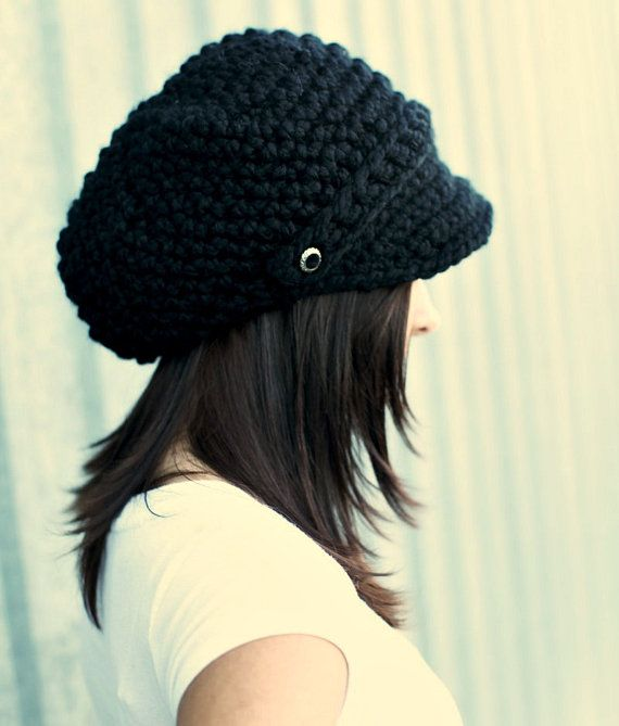 Black Hat Black Newsboy Hat Black Crochet Hat Black Womens Hat Black ...