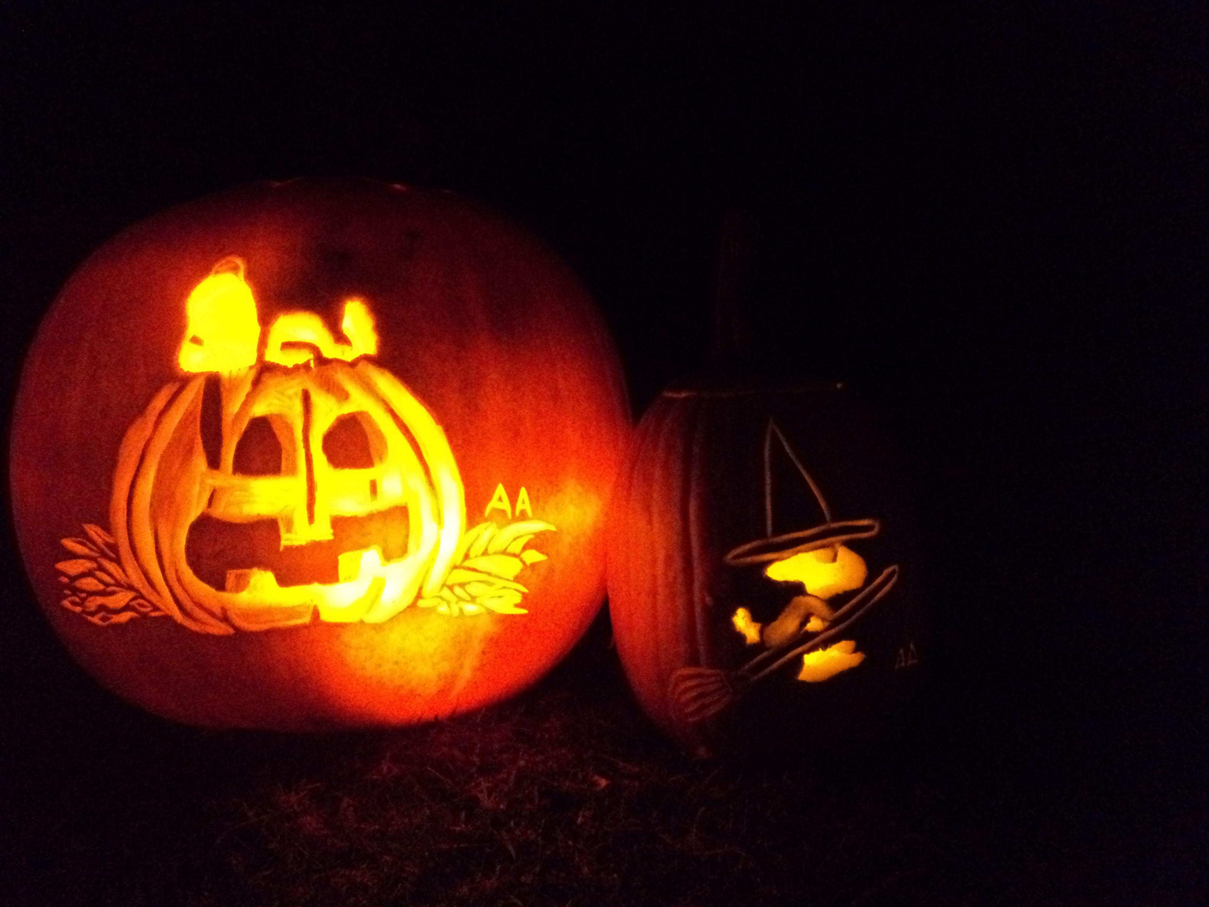 Snoopy Woodstock Carved Pumpkins