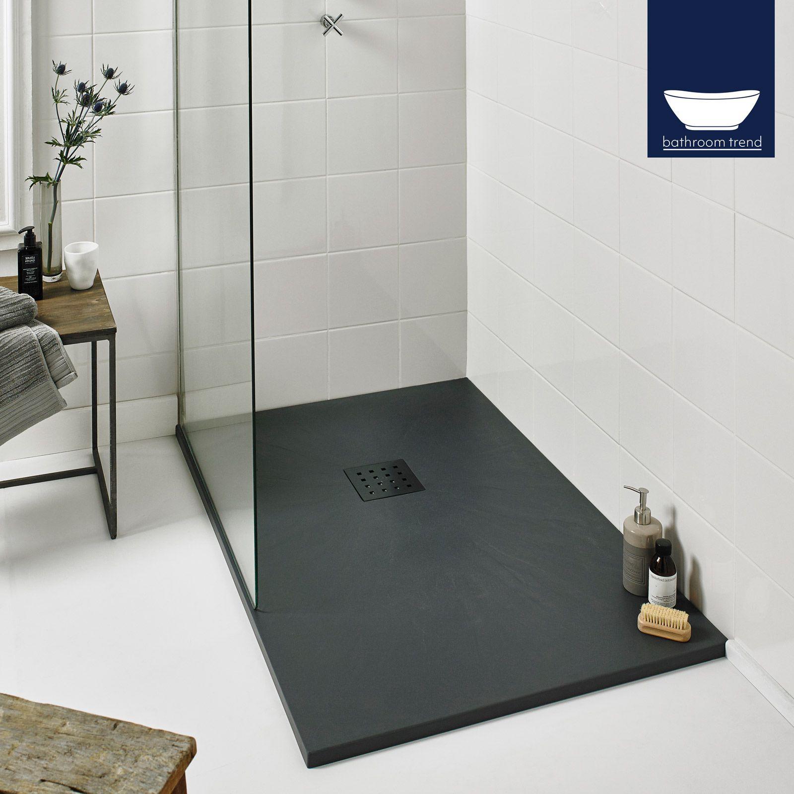 1200mm Rectangle Designer Shower Tray Modern Slate Effect With Integrated Waste Modern Slate Effect Shower Tray Bathroom Shower Tray Ideas Shower Tray
