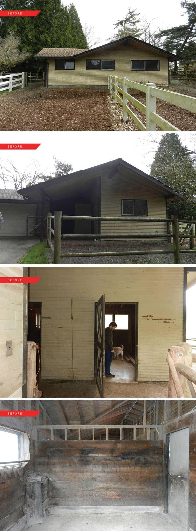 Vorher und Nachher u Ein Pferdestall wird in den Raum zum Leben