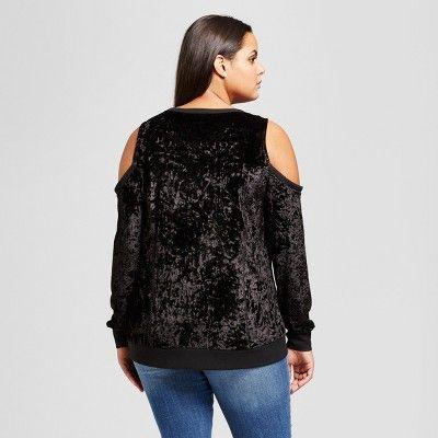 Women's Plus Size Crushed Velvet Cold Shoulder Blouse - No Comment Black 1X
