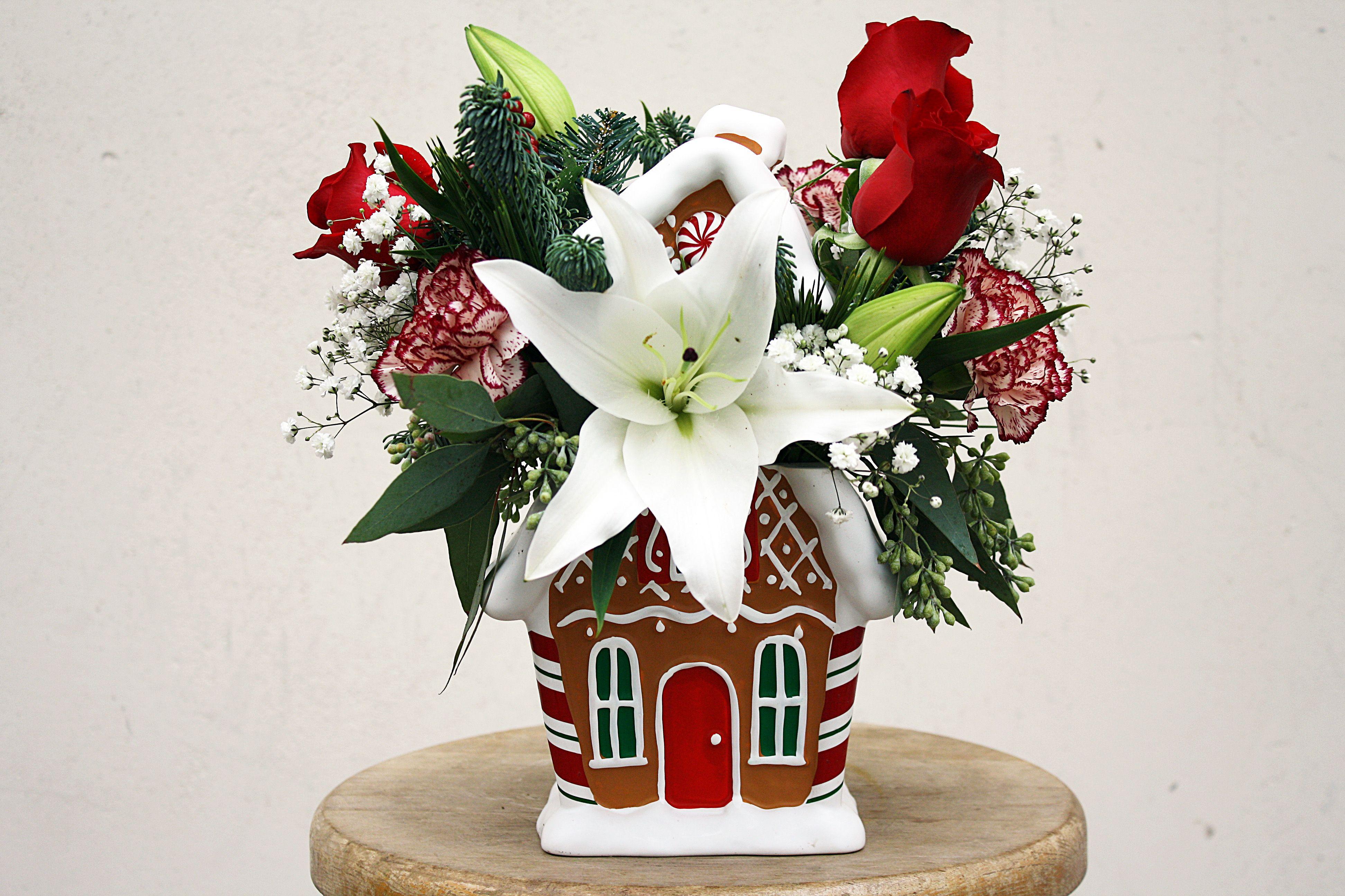 Gingerbread house flower arrangement four seasons flowers four flower delivery in san diego izmirmasajfo