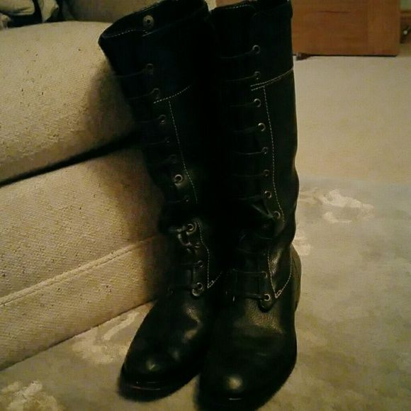BCBG Max Azria  leather boots I love these but they are to big...they say 8L so fit 8.5 BCBGMaxAzria Shoes Lace Up Boots