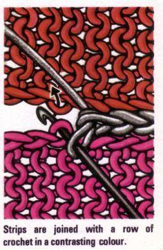 Joindre des carrés tricotés avec du crochet   – crochet and knitted clothes