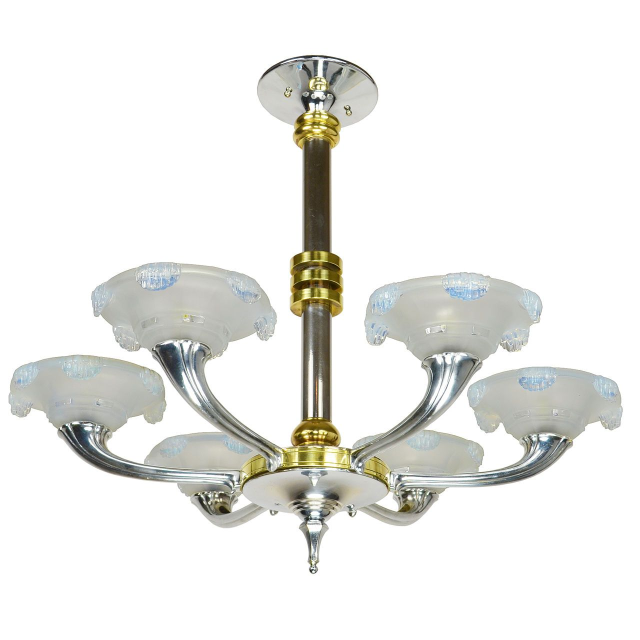 Streamline art deco antique french chandelier circa 1930 led rewired streamline art deco antique french chandelier ca 1930 rewired w led ant 496 ebay arubaitofo Images