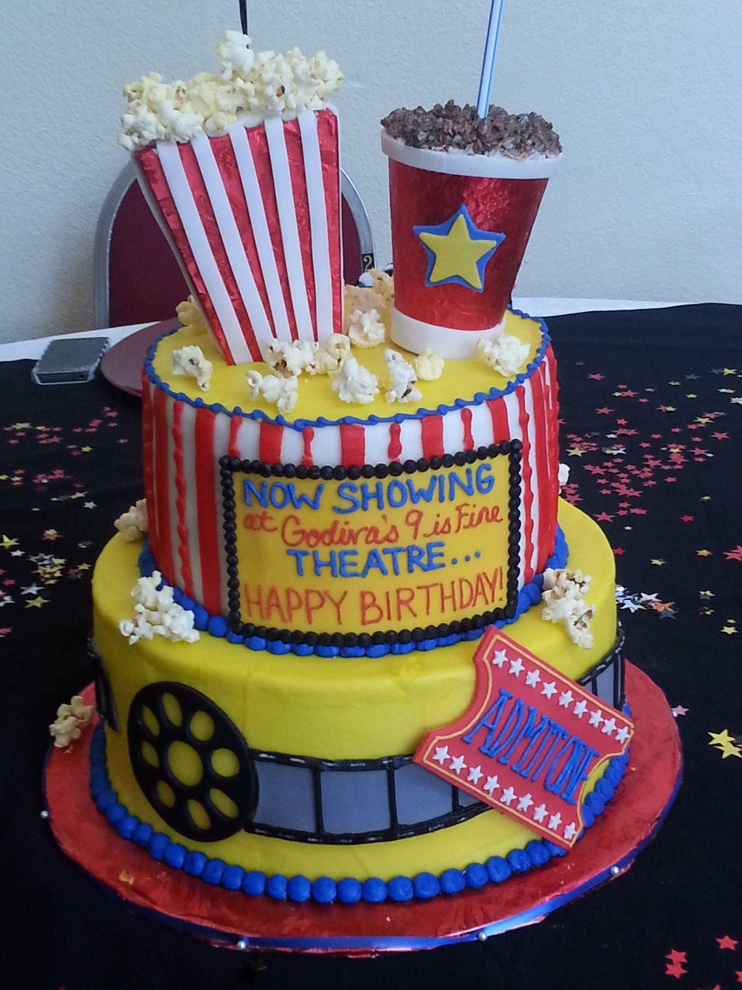 Directors Clapboard Cake - Movie themed birthday party birthday girl celebrates her special day with a