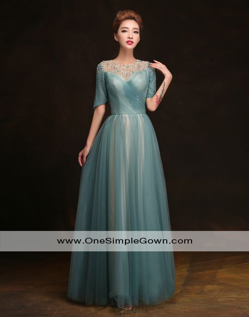 90db9fb794984 Round Neck Sequins Ruching Tulle Dinner Dress | Evening Dress ...
