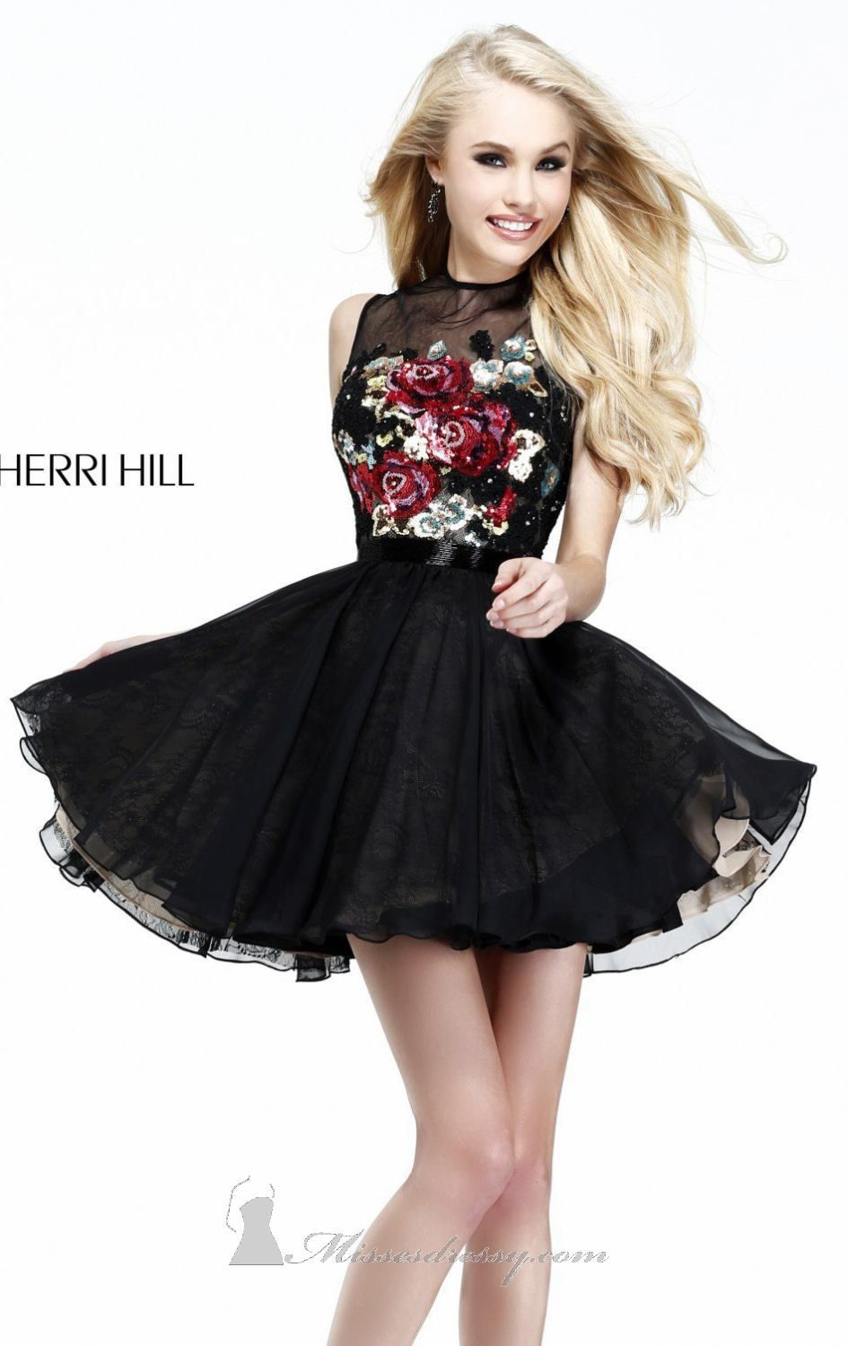 Short Black Dress with White Flowers