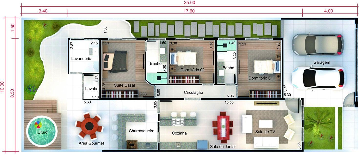 Planta de casa com port o de madeira planta para terreno for Eumaster casa moderna 8x8