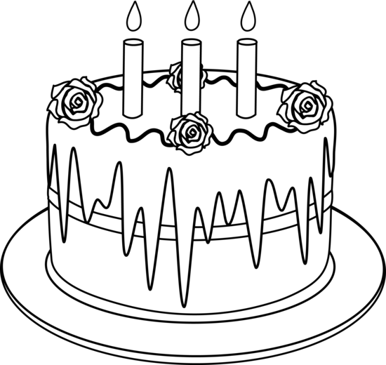 Line Drawing Cake : Outline of birthday cake with candles desserts