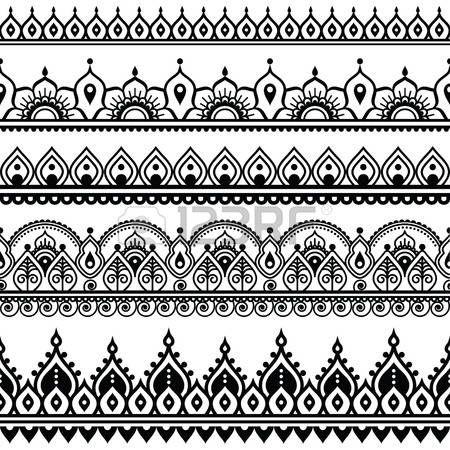 Mehndi, Indian Henna Tattoo nahtlose Muster, Design-Elemente