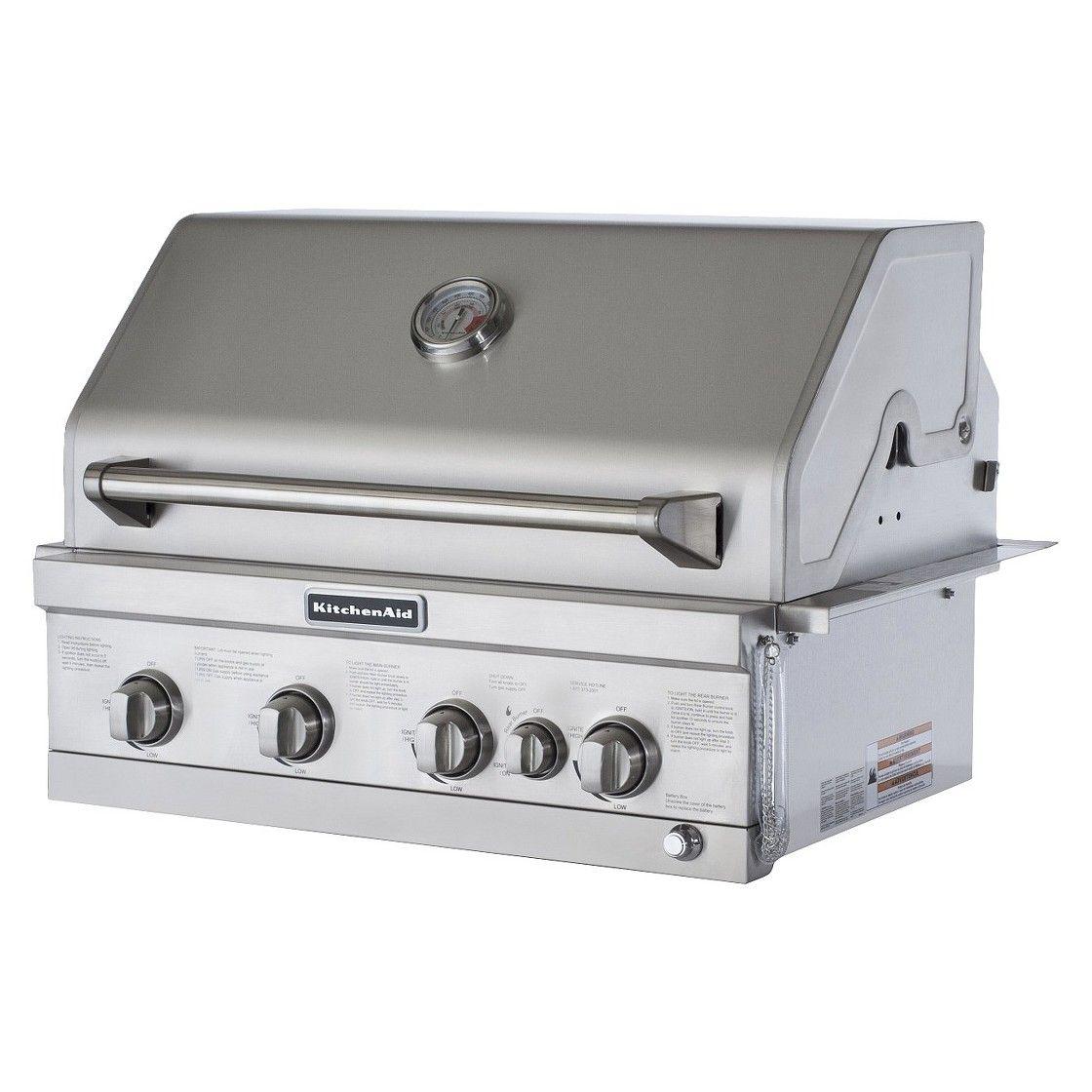 Kitchenaid 4 burner builtin propane gas island grill with