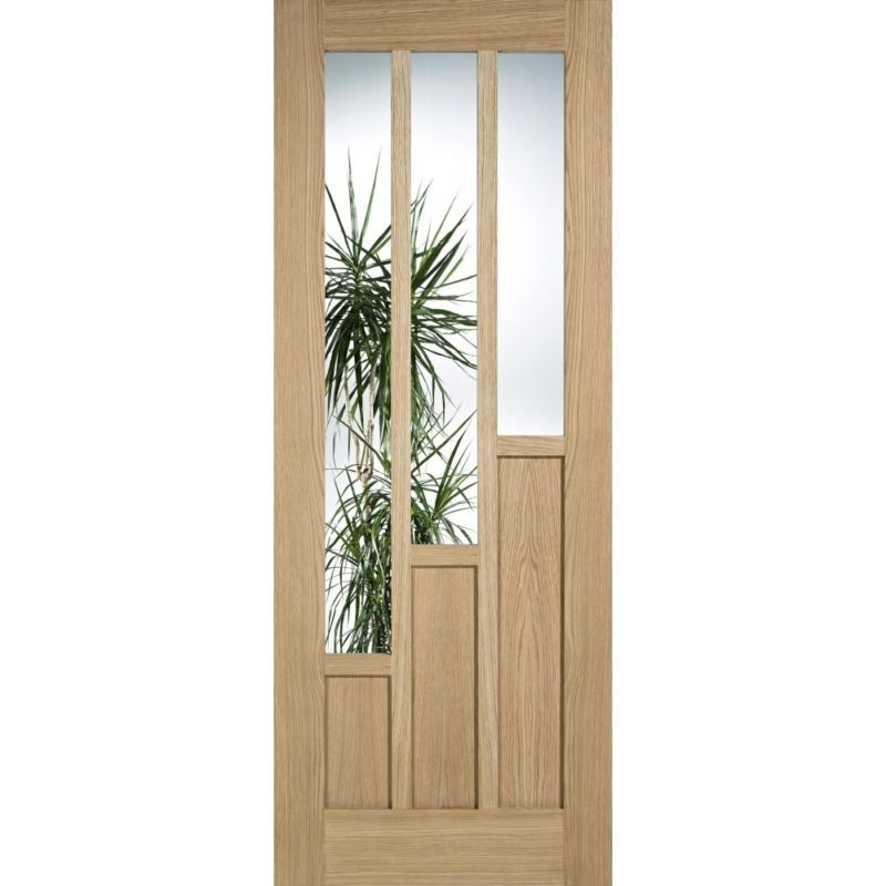 Internal Glazed Oak Door Coventry Unfinished 3 Light Clear Glass