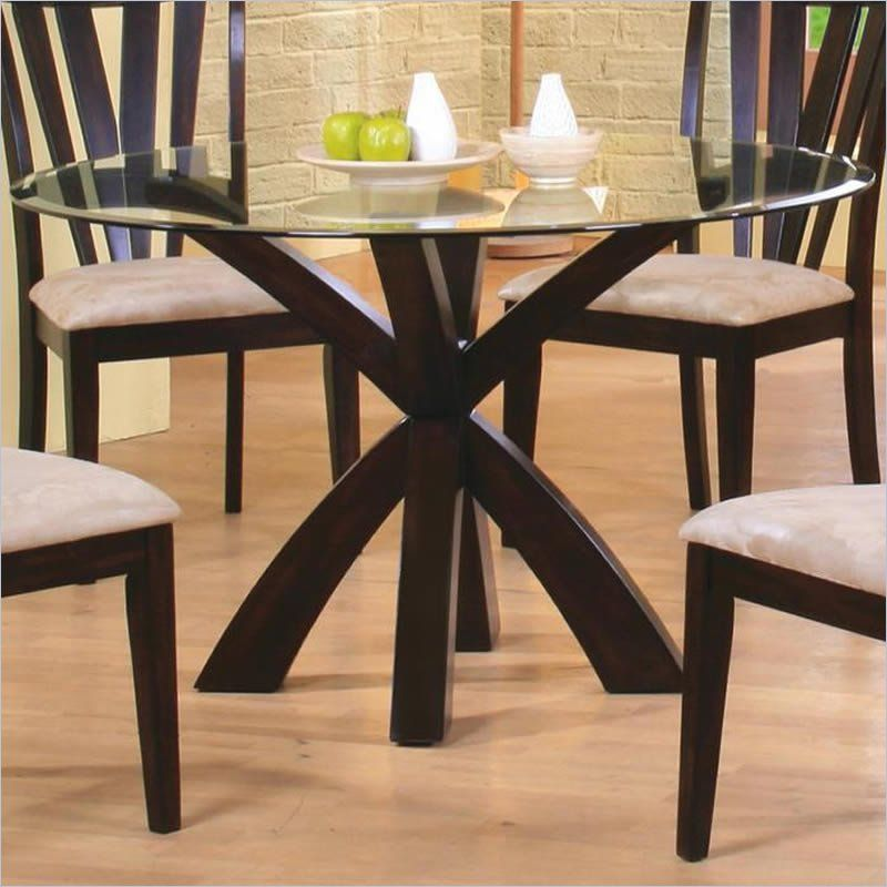 Coaster Shoemaker Crossing Pedestal Dining Table With Glass Top In Fascinating Bases For Glass Dining Room Tables Review
