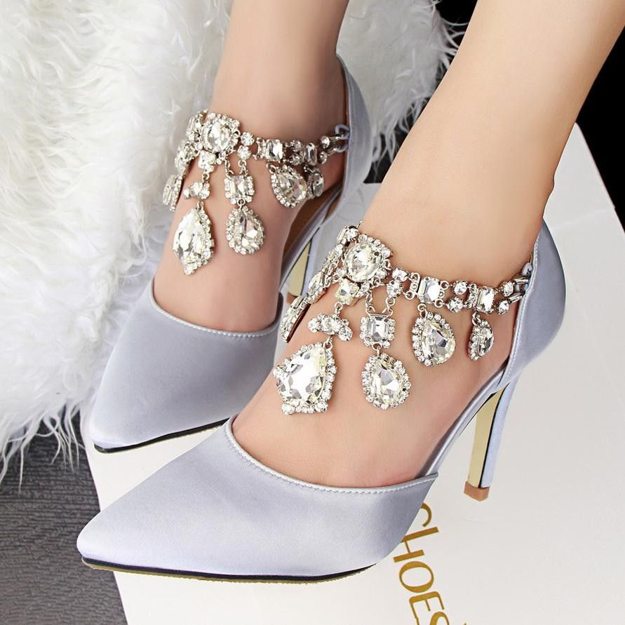 Pointed Toe Style Buckle Rhinestone Grey Women Shoes Heels