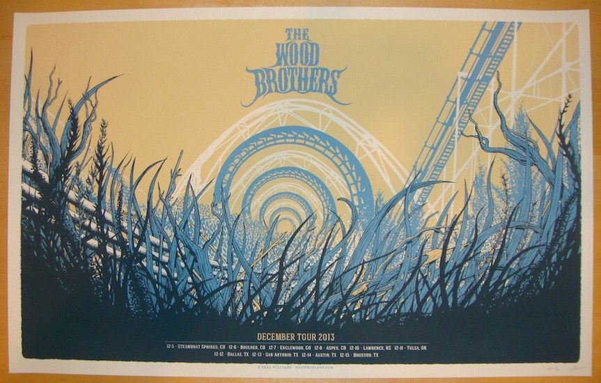 2013 The Wood Brothers - December Tour Poster by Neal Williams