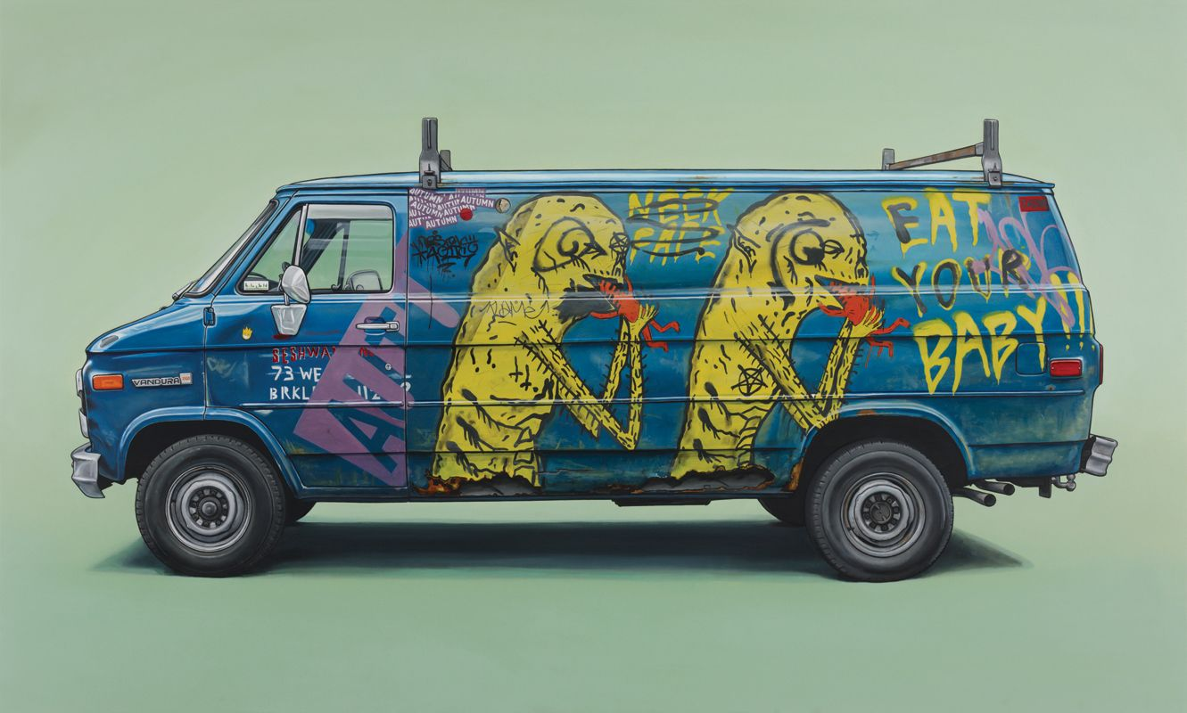 Artist Kevin Cyr...I love his exhibition because I always liked looking at graffiti on trucks x trains x subways... cause its like movable art + for him to recognize the humor/art in it was cool...I always think like I hope they don't paint over it lol