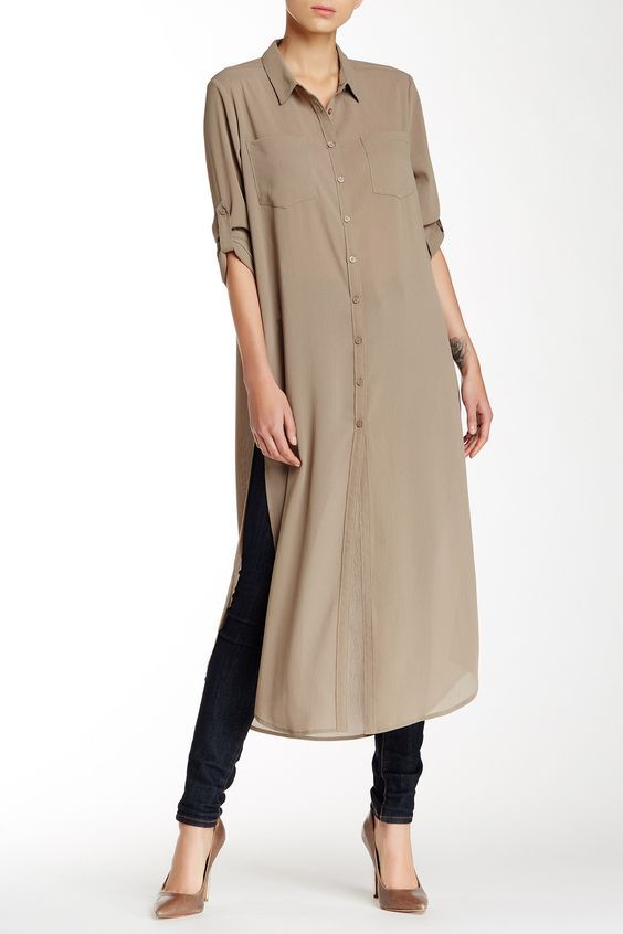 Cecico | Long Sleeve Split Side Maxi Tunic | Nordstrom Rack