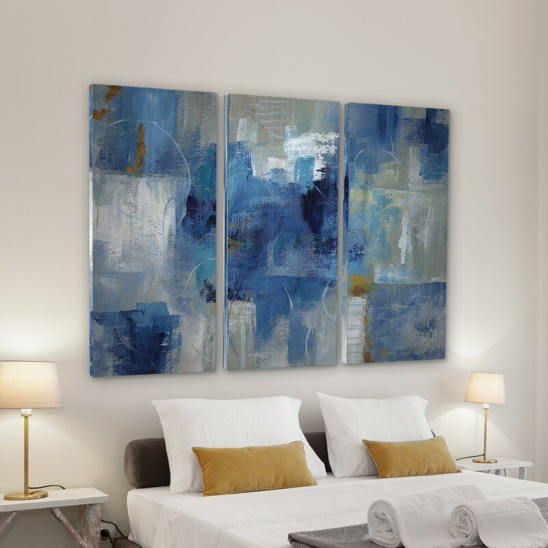Blue Morning 3 Piece Wrapped Canvas Multi Piece Image Print In 2021 Three Piece Wall Art City View 3 Piece Canvas Art