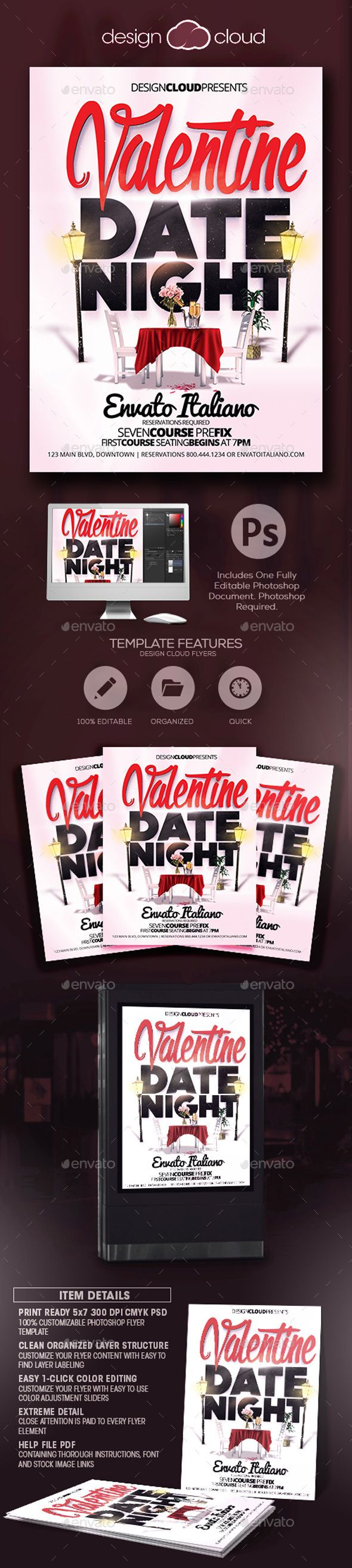 Valentine Date Night Flyer Template This Fully Editable Flyer