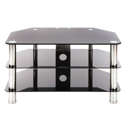 Black Glass Tv Stand For Up To 37 Tvs By Levv With Brushed Steel