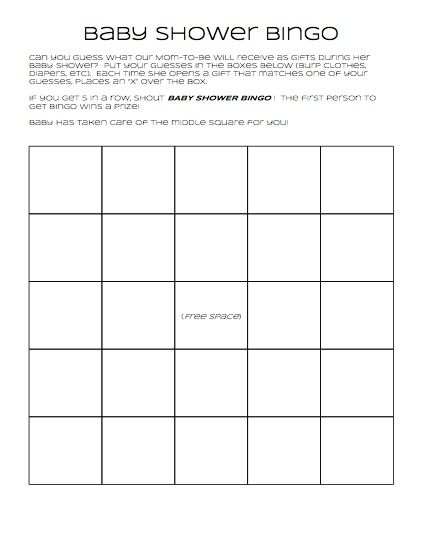 Baby Shower Bingo Printable Guests Fill Out The Blank Squares
