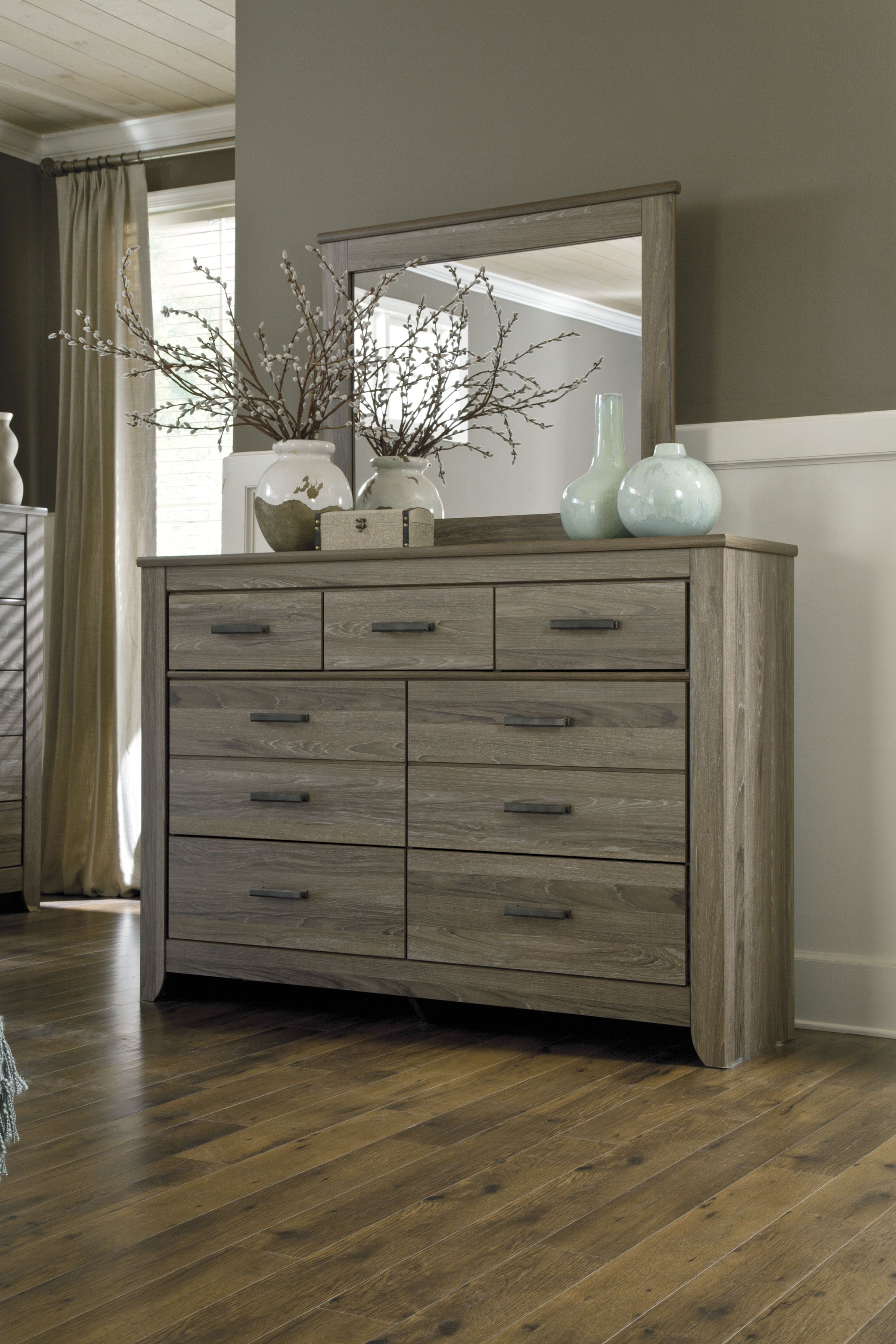 Zelen Casual Gray Wood Glass Dresser & Mirror. Click To Love ItClick ...