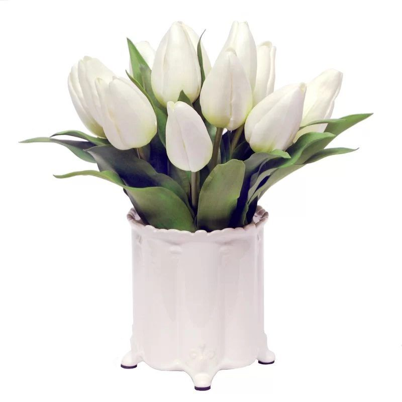 White Artificial Flowers In Vase Indoor Design Pinterest