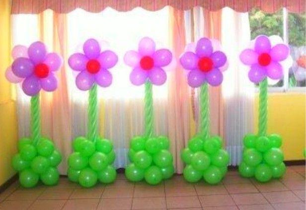 Como hacer flores con globos para decorar un baby shower decoraciones para fiestas pinterest - Como decorar columnas ...