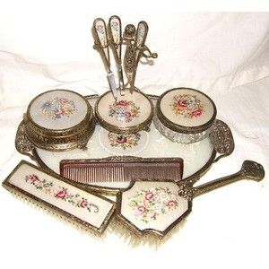 Vintage Dressing Table Vanity Set Petit Point & Lace for sal ...