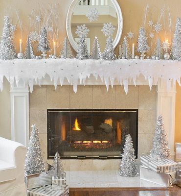 silver winter wonderland theme party winter wonderland party christmas wonderland fire place christmas decor - White Christmas Decorating Theme