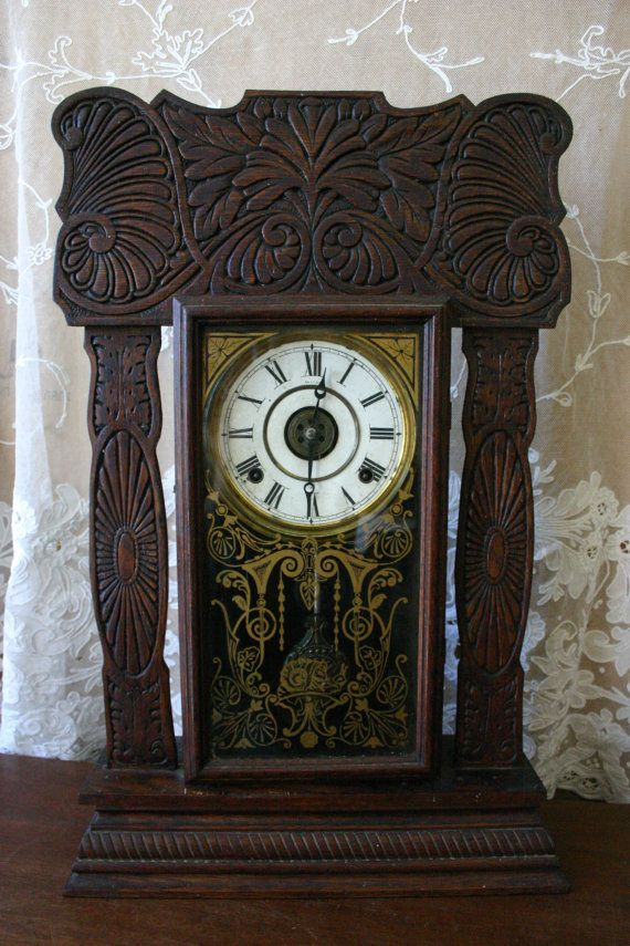 Antique Ingraham 8 Day Mantel Clock Late By Timebanditsclocks