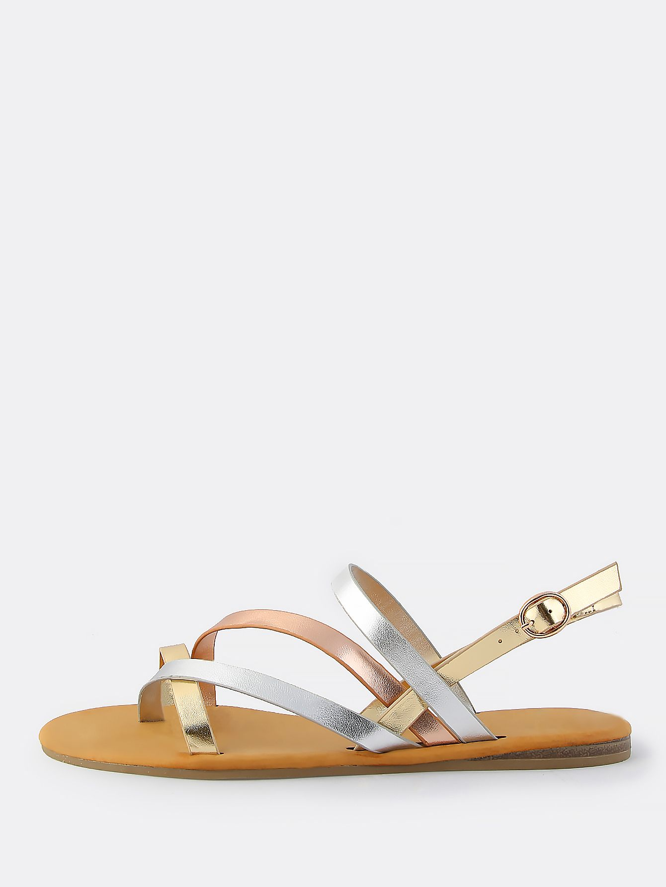 b9f446975 Shop Metallic Multi Cross Strap Sandals METALLIC online. SheIn offers  Metallic Multi Cross Strap Sandals METALLIC & more to fit your fashionable  needs.