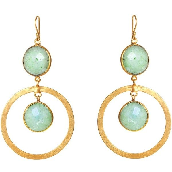 FEATHER & STONE Amazonite Circle Earrings ($170) ❤ liked on Polyvore featuring jewelry, earrings, accessories, brincos, orecchini, amazonite, feather earrings, circular earrings, stone earrings and stone jewellery