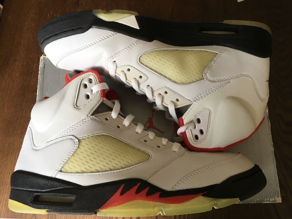 buy online c811f 050ce Nike Air Jordan 5 Retro - White Black-Fire Red Size 12 - Brand New In Box  (eBay Link). Find this Pin and more on Men s Shoes ...
